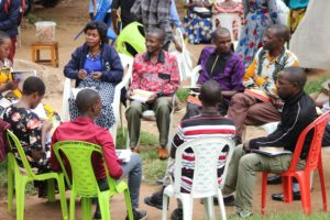 Small group studying the bible in Africa